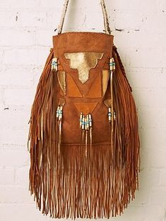 Boho 1960s Vintage Suede Leather Fringe Purse | Bohemian 1970s Hippie Tassel Brown and Gold Hobo Satchel | Beaded Native American | Southwestern | Chic Fashion Style Inspiration