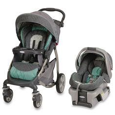 stroller and car seat set. Love the colors