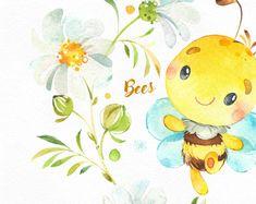 Bees. Little animals watercolor clipart wreath flowers   Etsy Акварельное Искусство, Дети Искусство Арт, Причудливое Искусство, Милые Обои, Рисунок Животных, Детское Искусство, Вечеринка В Пчелином Стиле, Рисунки Пчел, Проекты Поделок