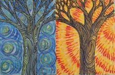 dreampainters: Day & Night Trees: Oil Pastel. Idea from Artsonia. 2010.