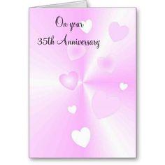 A Happy 35th Wedding Anniversary Card Hearts #wedding #anniversary #35th
