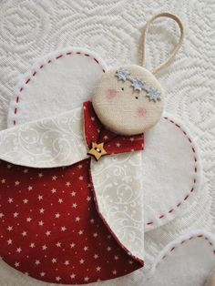 SET of Felt Christmas ornaments, classic Christmas decoration, red white decoration, heart star traditional ornaments Quilted Christmas Ornaments, Christmas Arts And Crafts, Fabric Ornaments, Christmas Sewing, Felt Christmas, Homemade Christmas, Christmas Angels, Christmas Projects, Christmas Crafts