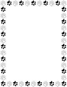 Black and White Paw Print Border