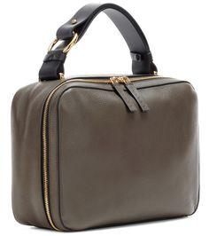 Vanity olive leather shoulder bag