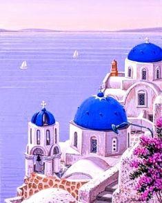 Liudmila Kondakova - Santorini Dawn , hand-signed lithograph - Visit to purchase Gouache Color, Greece Painting, Mediterranean Art, Garden Mural, Greek Design, Greek Art, Beautiful Places To Travel, Sacred Art, Vintage Travel Posters