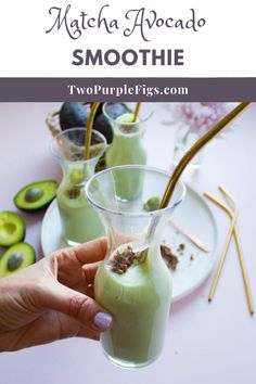 This super easy Avocado Smoothie is only four ingredients and a blender away! Luscious and creamy with a boost of antioxidant from the Matcha green tea. #smoothie #matchaavocadosmoothie #matchasmoothie #avocadosmoothie #easyrecipe | twopurplefigs.com @twopurplefigs Avocado Smoothie, Smoothie Menu, Mango Smoothie Recipes, Matcha Smoothie, Vegan Smoothies, Juice Smoothie, Smoothie Bowl, Fruit Smoothies, Nutritious Smoothies