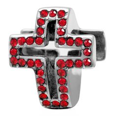 Babao Jewelry Hollow Cross Red CZ Crystals 925 Sterling Silver Bead fits Pandora Style European Charm Bracelets * Be sure to check out this helpful article. #Charms