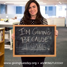 #GivingTuesday is coming! Tell us: why are you giving? Take a photo with your answer and tag it with #GivingTuesday #unselfie.