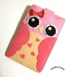 "Love this its so cute.  iPhone Case - Cell Phone Case - iPhone 4 Case - iPod Case - iPod Touch Case - Handmade iPhone Felt Case - "" Kawaii Owl "" Design"