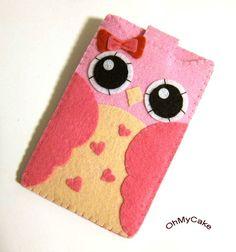 "Love this its so cute.  iPhone Case - Cell Phone Case - iPhone 4 Case - iPod Case - iPod Touch Case - Handmade iPhone Felt Case - "" Kawaii Owl "" Design"