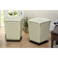 @Overstock.com - Safavieh Mason Bicast Leather Off White Ottoman (Set of 2) - Provide an extra seating option to your space with this set of two bicast leather ottomans. Featuring a solid espresso-finished base, these elegant white stools are table-height, so it's easy to pull up a chair when you have unexpected dinner guests.  http://www.overstock.com/Home-Garden/Safavieh-Mason-Bicast-Leather-Off-White-Ottoman-Set-of-2/4141686/product.html?CID=214117 $217.98