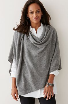I have gray, olive, black, and camel ponchos (some with fringe), but I could use shirts to layer with the ponchos.