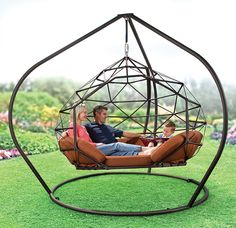 Enhance your outdoor living experience with Hammacher Schlemmer patio furniture, garden lights, lawn and garden tools, and outdoor games for kids. Hammock Chair, Swinging Chair, Outdoor Living Furniture, Garden Furniture, Pergola Shade, Steel Furniture, Room Decor Bedroom, Backyard, House Design