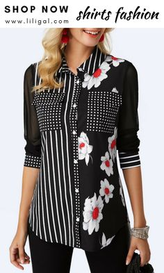 Women Fashion Black Floral Print Blouse Button Up Curved Hem Printed Black Shirt Stylish Tops For Girls, Trendy Tops For Women, Blouses For Women, Red Blouses, Shirt Blouses, Creation Couture, Printed Blouse, Blouse Designs, Outfits