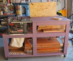Table Saw Workbench with Wood Storage style
