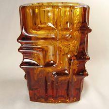 1960's SKLO UNION Mid-Century Modern Art Glass Amber Vase Czechoslovakia, Czech