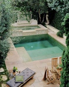 Estimate the quantity of concrete decking you'd like around the pool. A pool is the best backyard amenity. A little swimming pool is a good idea if we've limited space but still want to… Small Backyard Pools, Small Pools, Outdoor Pool, Backyard Landscaping, Outdoor Spaces, Backyard Designs, Small Patio, Small Backyards, Backyard Ideas