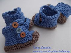 Blue and Brown Baby Boy Booties. by tlcrochetknitting on Etsy, $12.00