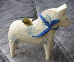 Swedish white DALA HORSE - 5 inch. candlehole bell