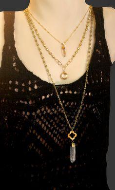 Crystal Quartz Pendant Necklace Long Beaded Necklace by ViaLove