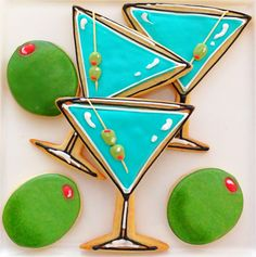 Martini Cookies~ by CompassionateCake on Etsy, $37.95, blue, glasses, green olives,