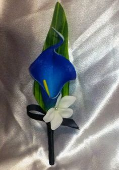 Royal Blue Calla Lily White Rose Bouquet Blue by SilkFlowersByJean, $75.00