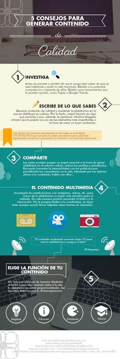 5 consejos para crear contenido de calidad #infografia #infographic #marketing Marketing En Internet, Inbound Marketing, Marketing Digital, Marketing And Advertising, Business Marketing, Online Marketing, Content Marketing Strategy, Social Media Marketing, Social Media Tips