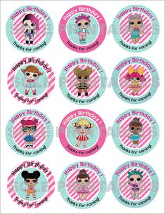L Surprise Theme: Happy Birthday Cupcake Toppers with Doll Birthday Cake, Happy Birthday Cupcakes, 8th Birthday, First Birthday Parties, Lol Doll Cake, Hobby Town, Finding A Hobby, Hobbies For Kids, Doll Party