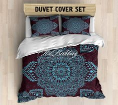 Bohemian bedding, Lace Mandala queen / king / full / twin duvet cover set, Boho…