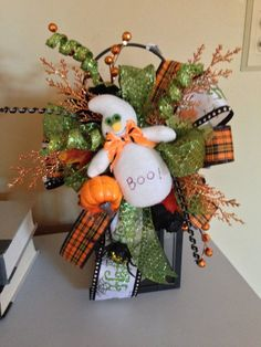 Halloween Ghost Decoration Floral Swag by RefreshwithStyle on Etsy, $28.00