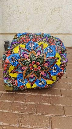 Flower mandala stonedresser decorlibrary by RockByVicki on Etsy