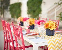 modern-yellow-chevron-wedding-pink-chairs