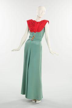 Elsa Schiaparelli  Dinner dress French  1940  Lobster-red and marine blue silk w/ fish-head motif buttons
