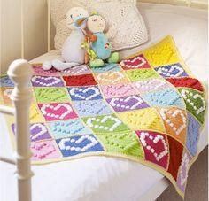 Bobble heart blanket - Free crochet pattern