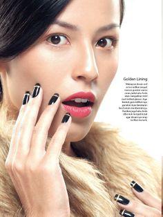 Major Beauty October 2013: Paint It Black.  Photographer: Hadi Cahyono. Stylist: Arinda Christy. Makeup: Selie Jesse. Nail: Nail Boutique Jakarta. Model: Nina Kozok/VTM.  #CosmoIndonesia #MajorBeauty #CosmoBeauty #BeautyBible #Beauty #NailArt #Nail
