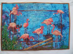 Flamingos - Art Quilt by Maya Brülhart Flamingo Art, Maya, Quilts, Painting, Quilt Sets, Painting Art, Quilt, Paintings, Log Cabin Quilts