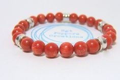 RED Bamboo Coral Bead Bracelet with Silver Metal Barrel Beads on stretch cord - 8mm beads - measures approx 7.5 inches www.sgtpepperscreations.etsy.com #handmadejewelry #etsy #sgtpepperscreations