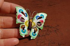 vintage antique ENAMEL over silver BUTTERFLY pin brooch on Etsy, $5.00