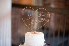 Wire Cake Topper Copper Dusky Lilac Grey Rustic Barn Wedding http://www.kayleighpope.co.uk/
