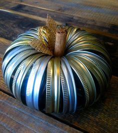 fall decor mason jar | pumpkin made from mason jar lids- great fall decor! | Zest Projects