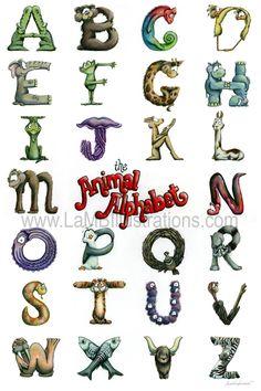 LaMB Illustrations: Animal Alphabet (take Childrens Alphabet, Alphabet Art, Animal Alphabet, Letter Art, Alphabet Magnets, Alphabet Stencils, Graffiti Lettering, Lettering Design, Monogram Letters