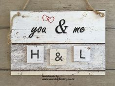 Du & Ich mit kleinen Holzbretter & Initialen