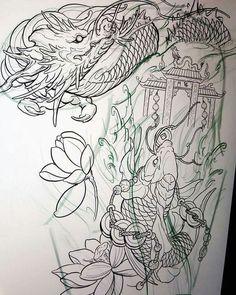 japanese tattoos for women Dragon Koi Fish, Koi Dragon Tattoo, Dragons Tattoo, Japanese Snake Tattoo, Japanese Dragon Tattoos, Japanese Tattoo Designs, Magic Tattoo, Leg Sleeve Tattoo, Fu Dog