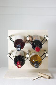 DIY: wood & leather wine rack