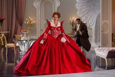 """The inpiring red peacock dress worn by the Queen in """"Mirror, Mirror""""."""