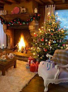 Cozy Cabin Christmas love this! Christmas Interiors, Christmas Living Rooms, Christmas Room, Noel Christmas, Winter Christmas, Vintage Christmas, Christmas Feeling, Rustic Christmas, Elegant Christmas