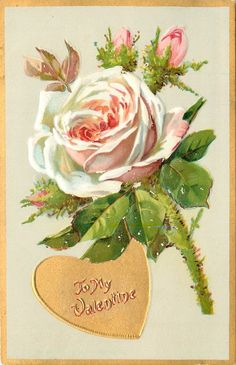 """""""To my Valentine""""  in gold heart ~ peach colored moss rose with three buds"""
