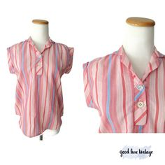 70s Striped Blouse Cap Sleeve Top Hippie Boho Shirt Red Pink Blue Stripes Size Small Summer Spring Indie Hipster by GoodLuxeVintage on Etsy