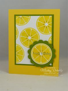 """Blog Post Date:  May 24, 2016.  A simple design with bright colors makes a quick and easy card. This project features the Apple of My Eye and And Many More stamp sets, 1-3/4"""" circle and 2-3/8"""" Scallop circle punches, and the eye pleasing colors of Daffodil Delight, Old Olive, and Sahara Sand."""