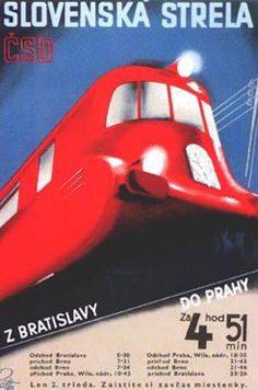 Train Poster, Czechoslovakia.***Research for possible future project.